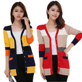 2014 Новый стиль осень красочные полосатый свитера кардиган крючком вязать блузка с длинными рукавами топы рубашка blusas femininas inverno кардиганы