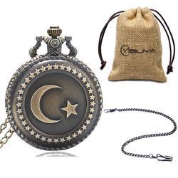 Bronze Turkey Flag Design Moon Star Circle  Quartz Antique Pocket Watch for Men Women