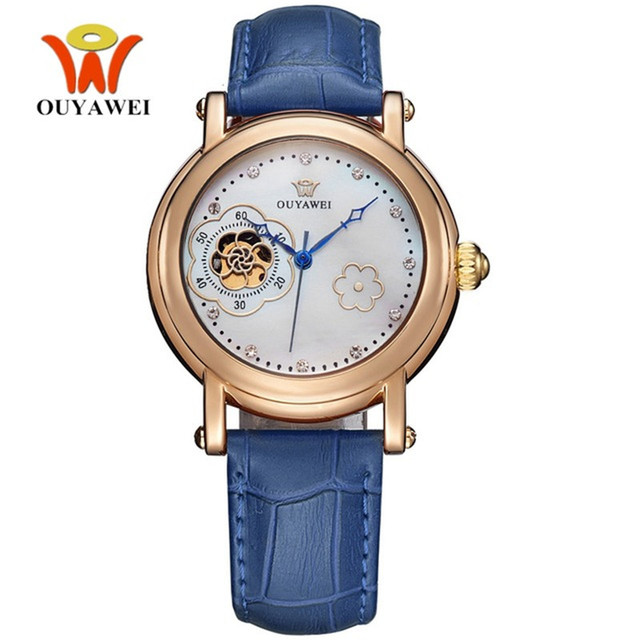 OUYAWEI Women mechanical watches Simple Flower design Dial Female simple Genuine Leather band Clock fashion casual Wrist watch