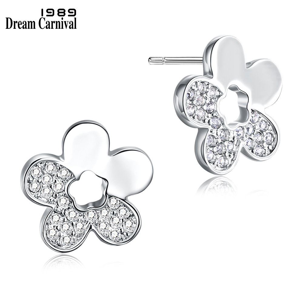 DreamCarnival 1989 Cute Flower Half Crystals Stud Earrings for Women Rhodium Gold Jewelry Super Deal Sales Moda Brincos de Botao