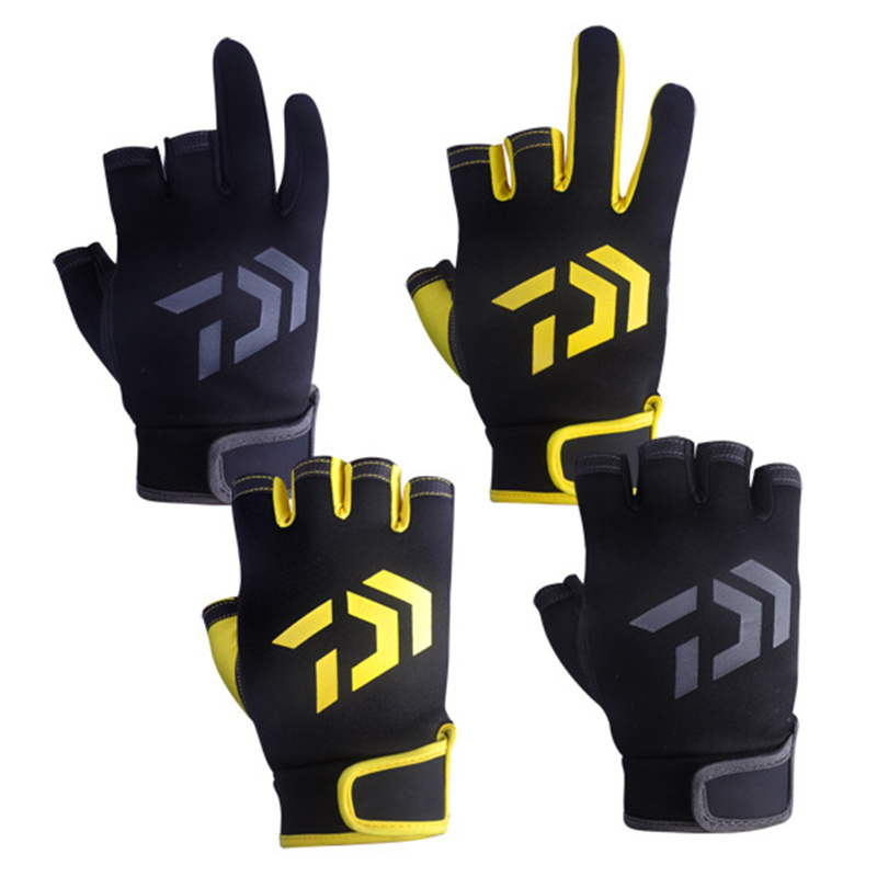 DAIWA Cut Three Fingers Fishing Glove Anti Slip Leather Outdoor Sports glove Slip-resistant Fishing Gloves