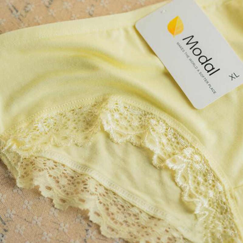 Yeni Gelenler Taze Modal Orta Katlı Esneklik Şeker Renk Kadın Dantel Külot Iç Çamaşırı Bayan Külot Knickers Külot XL Aksesuarı