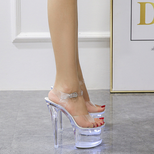 Image 3 - Large Size Sandals Clear Heel Light emitting PVC  Platform Buckle Strap Super High Heels Thin Heel Solid Womens Shoes 2019 New