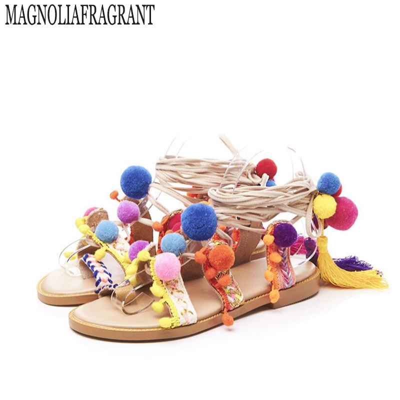 Woman Sandals Handmade Rome gladiator sandals women flat shoes Fringed Tie Up Open Toe Sandals  Fur Cross Strap PomPom Sandals 5 runtogether new summer women gladiator flat sandals shoes woman retro punk metal chain shoes open toe rome sandals size 35 40