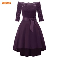 Fashion Purple Prom Dress 2019 Burgundy Short Dresses Prom Slim Fit Boat Neck Lace High Low Cheap Women Homecoming Party Gowns