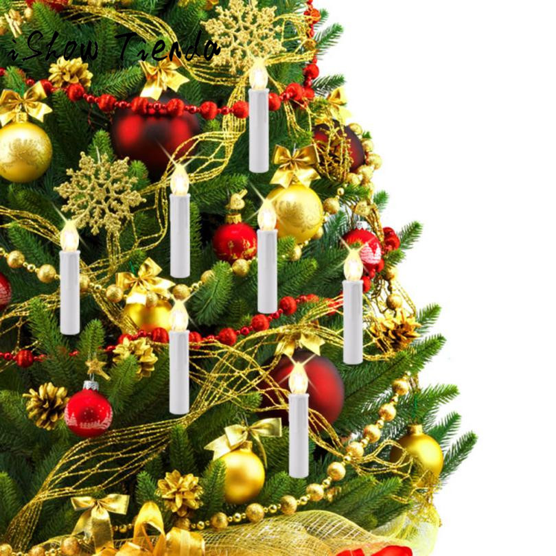 10 LED Candle Light Flameless Flickering Remote Control Christmas Home Decor Natale Ingrosso Christmas Decorations for Home