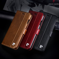Pierre Cardin Brand Genuine Leather Magnetic Book Style Flip Stand Wallet Card Holder Phone Case Cover