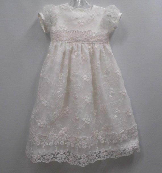 new baby cotton and allover lace gown christening gown baptism gown blessing dress white lace infant dress mock neck allover pattern dress