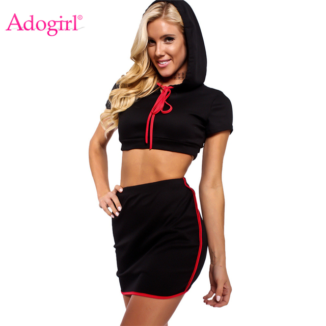 Adogirl 2018 New Two Piece Set Bodycon Dress Short Sleeve Hooded Crop Top  Bandage Mini Dresses Women Tracksuits Club Vestidos 6bf799e9d2c1