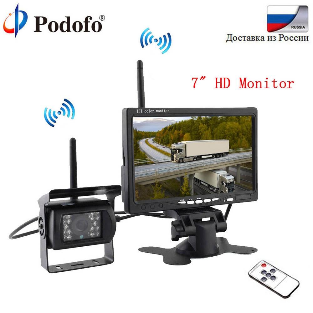 Podofo монитора для заднего вида Камера автопарк резервного обратный 7 монитор tft-lcd Экран Беспроводной Системы парковочные системы