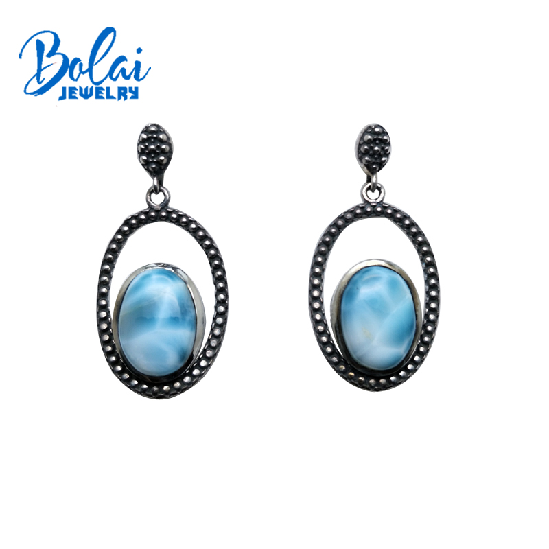 bolaijewelry,natural Dominica larimar oval 10*14mm gemstone vintage style earring 925 sterling silver best special gift for mombolaijewelry,natural Dominica larimar oval 10*14mm gemstone vintage style earring 925 sterling silver best special gift for mom