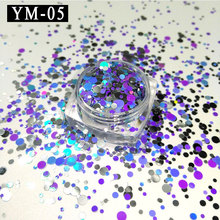 YM-05-1Box  1mm 2mm 3mm Siver&purple&blue Glitter Nail Holographic Acrylic Mixes Holo Sequins Round