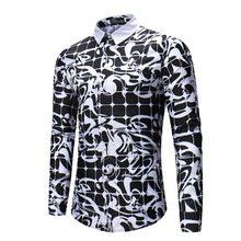 b128b0ce0b4 2018 Повседневное рубашка Мужчины Готический Черный Белый плед 3D печатных мужские  рубашки с длинными рукавами Slim Fit Мужской ..