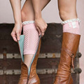Trendy Women Crochet Knit Lace Hollow Trim Leg Warmer Cuffs Toppers Boot Winter Socks