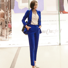 2019 Autumn Notched Navy Work Suits Slim Blazer Long Pant Solid Office Two Piece
