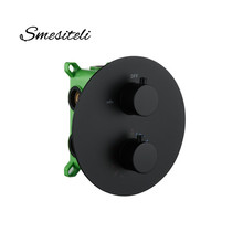 Smesiteli Round Style Matte Black Finish Thermostatic Diverter Shower Faucet Mixer 2 Way Or 3 Way 2 Handles Brass Concealed Wall