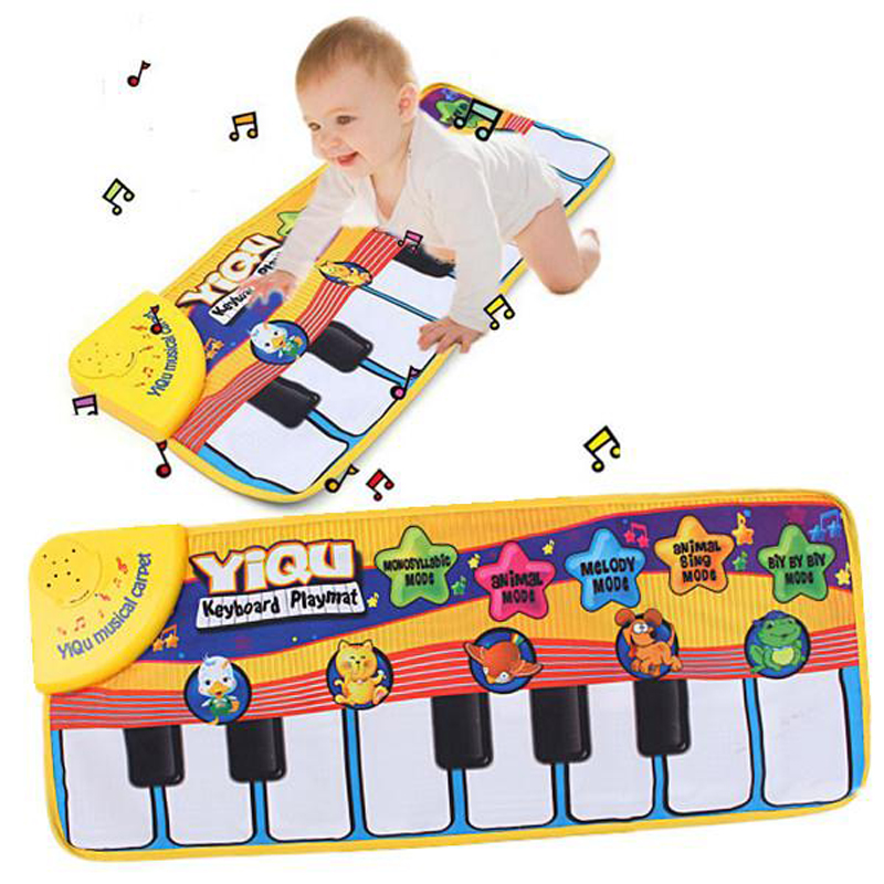 Music Game Piano Mats Touch Type Electronic Mat Multifunction Baby Play Crawling Mat Animal Sounds Sings Best Toys for KidsWJ309 ...