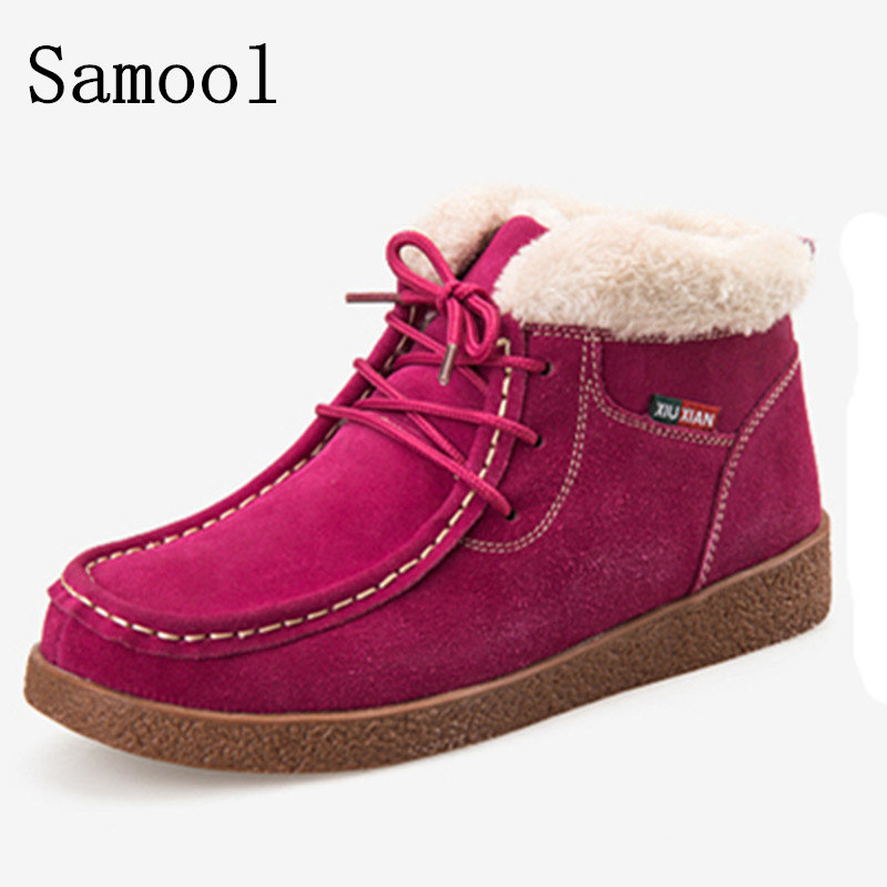 2017 New Fashion Women Winter Boots Cow Suede Ankle Snow Boots Female Warm Fur Plush Insole High Quality Botas Mujer Lace-Up