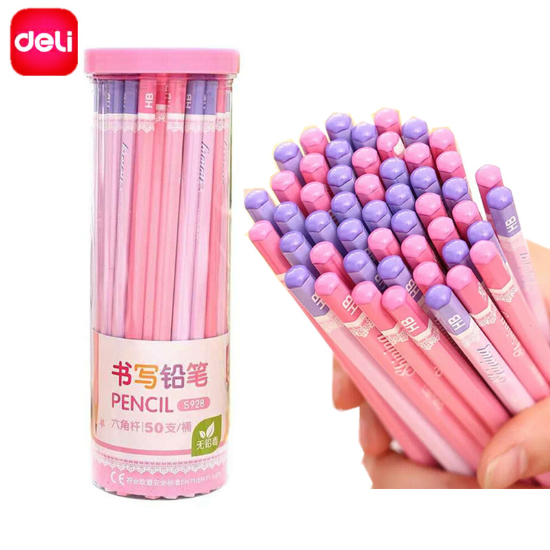 Deli Standard 2B Pencils 50 Pcs/set High Quality Value Set Supplies for School Children Student Write Office Drawing Stationery deli heavy duty hole punch office school supplies stationery 0150