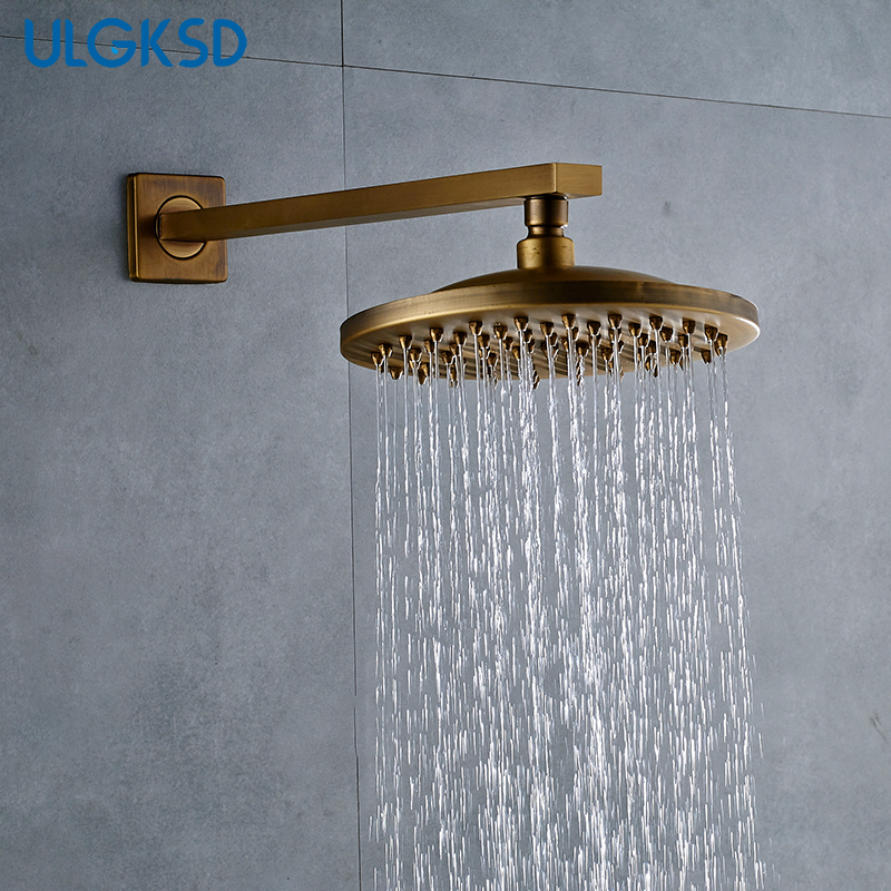 ULGKSD Free Shipping 8 Inch Shower Head W/ Shower Arm Antique Brass Wall Mounted G1/2 Contect Shower Faucet free shipping wall mounted brushed nickle led light showerhead with shower arm 8 10 12 inch