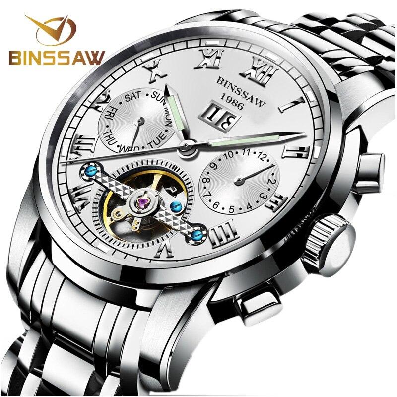 BINSSAW Hommes Montres Mécaniques Automatiques Tourbillon Marque En Acier Inoxydable de Luxe Relojes Montre Homme Montre-Bracelet Reloj Hombre