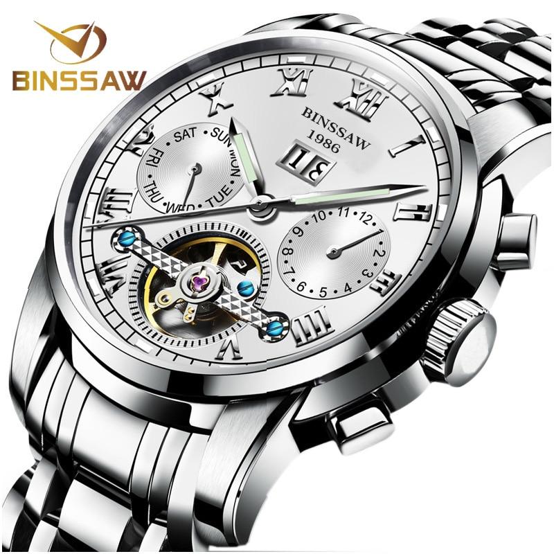 BINSSAW Mannen Automatische Mechanische Horloges Tourbillon Merk Luxe Rvs Relojes Montre Homme Polshorloge Reloj Hombre-in Mechanische Horloges van Horloges op  Groep 1