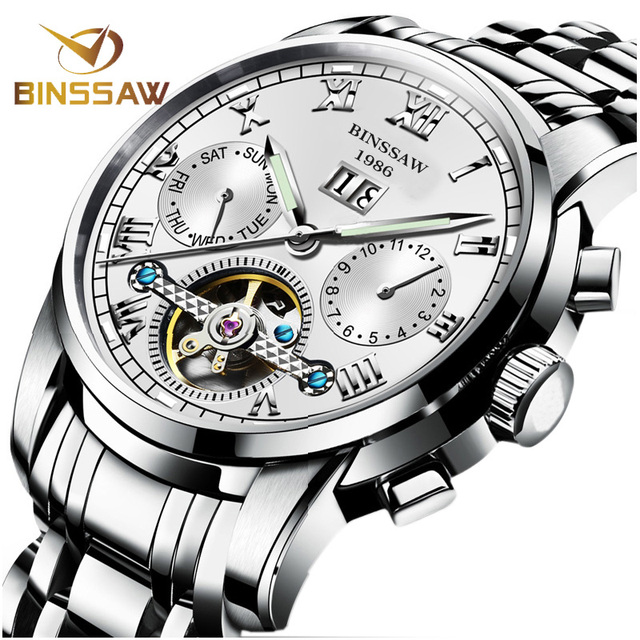 BINSSAW Men Automatic Mechanical Watches Tourbillon Brand Luxury Stainless Steel Relojes Montre Homme Wrist Watch Reloj Hombre