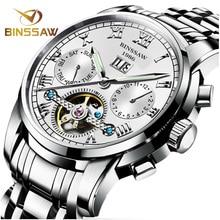 Binssaw мужчины автоматические механические часы Tourbillon лучший бренд класса люкс из нержавеющей стали часы мужские спортивные наручные часы мужской Relogio