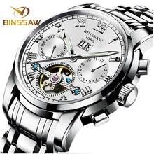 BINSSAW Men Automatic Mechanical Watches Tourbillon Top Brand Luxury Stainless Steel Watch Mens Sport Wrist Watch Male relogio