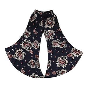 Image 5 - 2019 New women summer pants pantalon femme print vintage trousers women Mid Wide Leg Pants
