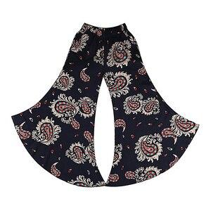 Image 5 - 2019 חדש נשים קיץ מכנסיים pantalon femme הדפסת בציר מכנסיים נשים אמצע רחב רגל מכנסיים