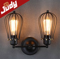 Judy Lighting-size:H 280mm 2 heads cage wall lamp vintage loft retro style wall light AC90-240V E27 40-60W edison bulb