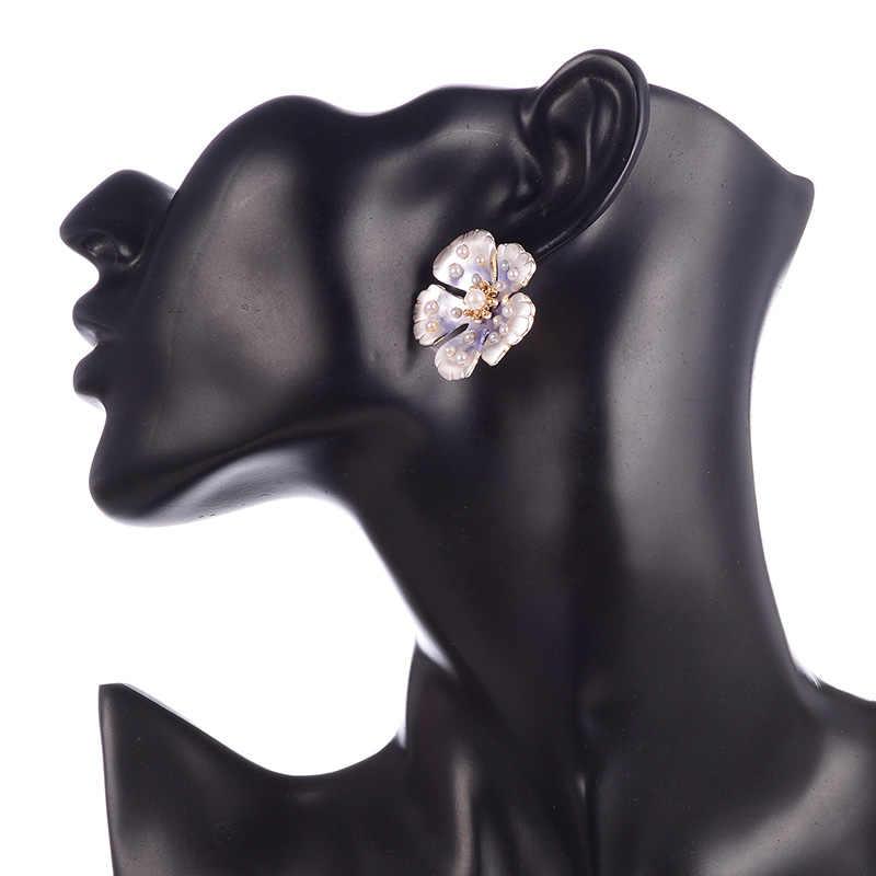 Bohemen Zilver Goud Kleur Legering Bloem Stud Earring Voor Vrouwen Roze Bule Parel Zomer Oorbel Mode-sieraden Pendientes 2020