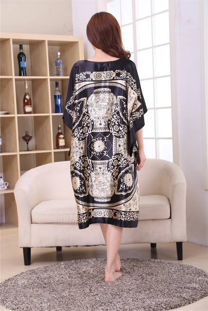 Female Satin Robe Dress Nightgown Novelty Women's Kaftan Bath Gown Summer Lounge Homewear Plus Size 6XL 5