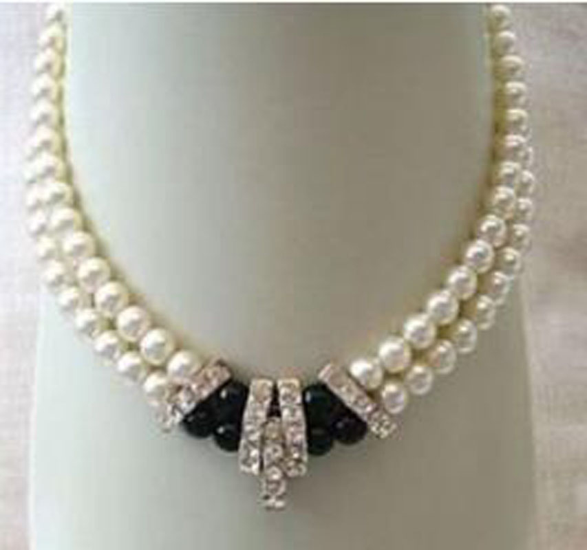 beautiful 2 rows Genuine pearl necklace 8-9 mm  FDD47