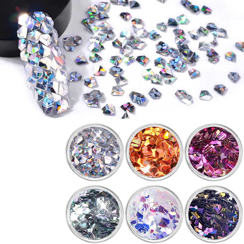 6pcs set strass ongles crystal nails rhinestone glitter for Acrylic nail decoration supplies