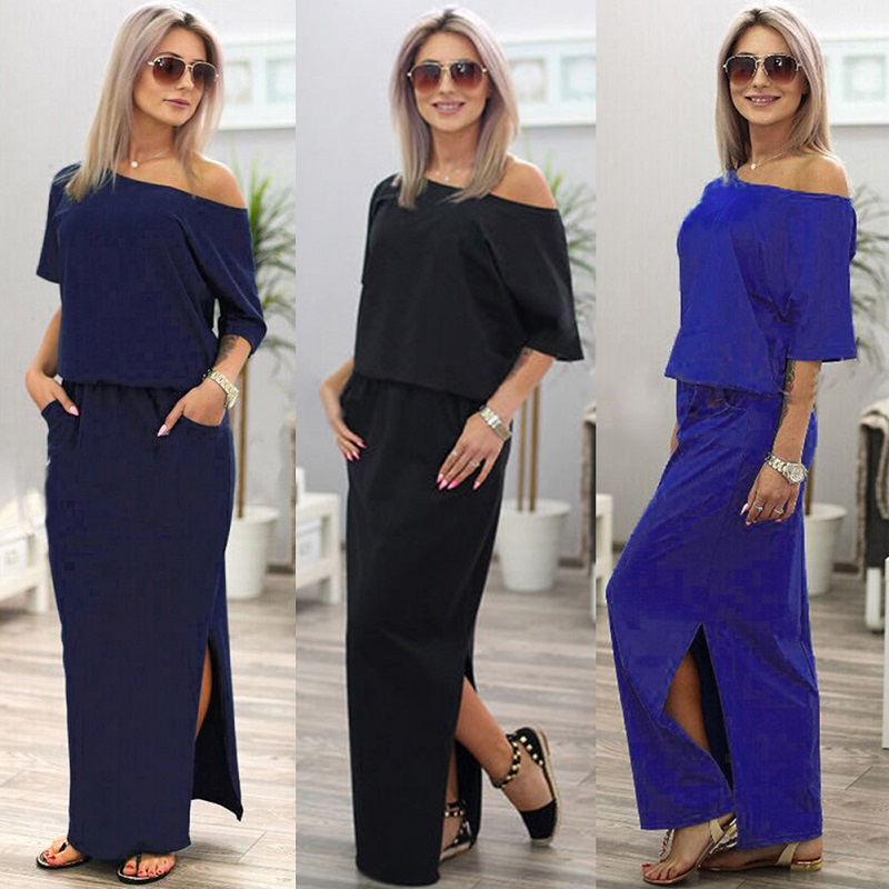 Elegant Dresses off shoulder Sexy Long dress Summer Casual Boho Women Floor Length Dress Club Ladies Fashion Maxi Dress DLD720