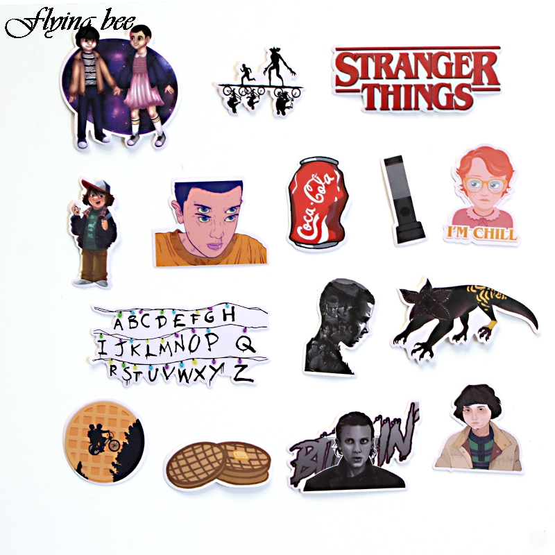 Image 3 - Flyingbee 66 pcs Stranger Things Sticker Anime Stickers for DIY Luggage Laptop Skateboard Car Motorcycle Bicycle Stickers X0005-in Stickers from Consumer Electronics