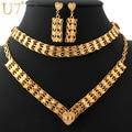 U7 grosso conjunto de colar para as mulheres banhado a ouro amarelo moda jóias coração colar brincos pulseira conjuntos de jóias u7 s451