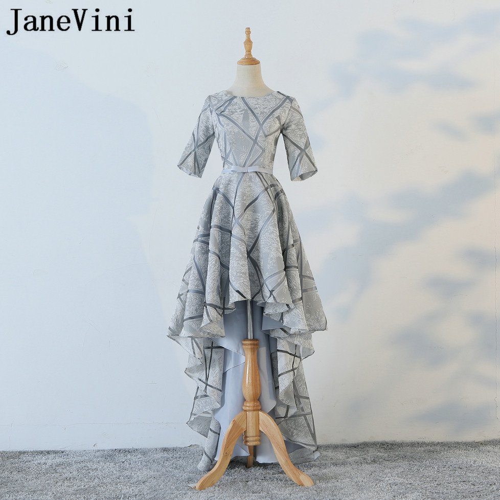 JaneVini New Style Gray Short Front Long Back   Bridesmaid     Dresses   Satin High Low Prom Gowns Hi-lo Ladies Wedding Party   Dress   2018