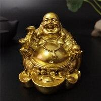 Gold Laughing Buddha Statue Chinesische Feng Shui Geld Maitreya Buddha Skulptur Figuren Für Haus Garten Dekoration Statuen-in Statuen & Skulpturen aus Heim und Garten bei