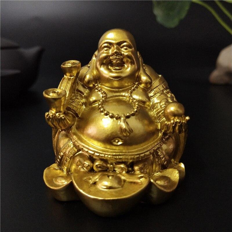 Złoty Laughing Buddha statua chiński Feng Shui pieniądze Maitreya budda rzeźby figurki do dekoracja do przydomowego ogrodu posągi