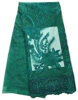 (5 ярдов/шт) высокий класс кружева, тюль изумрудно-зеленый Африканский Французский чистая кружевной ткани с бисером для очаровательная плат...