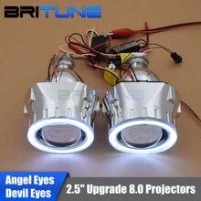 "Upgrade 8.0 LED DRL Angel Halo Devil Eyes Mini 2.5"" HID Bixenon Headlight Projector Lens H1 H4 H7 9006 9005 Headlamp Lenses"