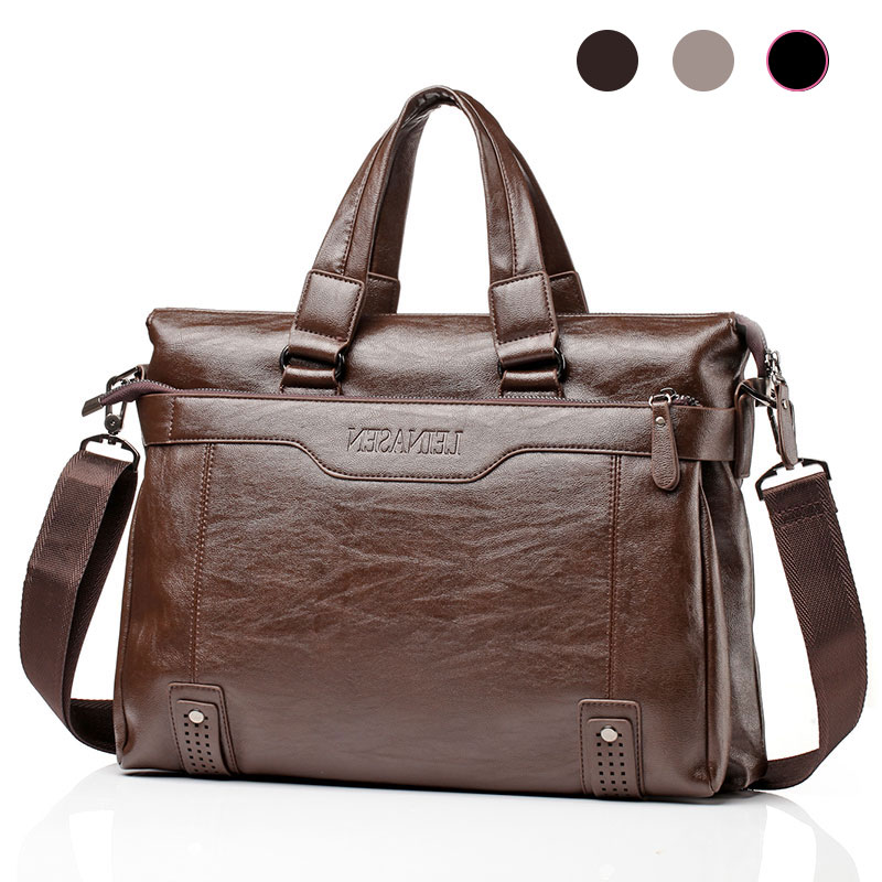 15 Inches Men's Briefcase PU Leather Business Men's Shoulder Bag For Man Handbag Bags Male Briefcases Waterproof Fashion 2019