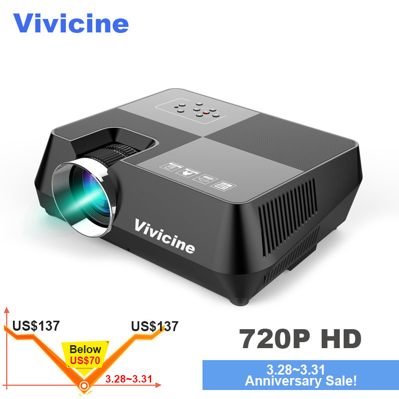 VIVICINE HD projecteur led, Portable 720 P HD Home Cinéma Proyector, En Option Android 6.0 Bluetooth WIFI Miracast Airplay Beamer
