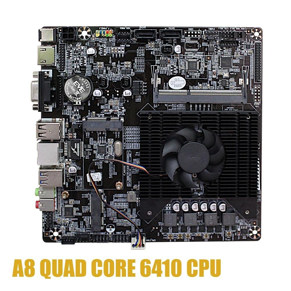 Ultra-thin Mini Itx Motherboard Built In  CPU A8 6410  R5 Video Graph Processing APU VGA RJ45 HDMI USB 3.0 MSata Use 12V DC