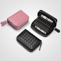 genuine leather zipper sheepskin card holder bag women's weaving credit card bag