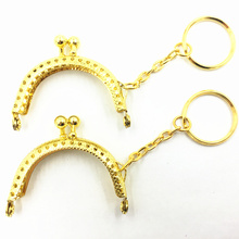 1Pc Gold Tone Handbag Handle Delicate Metal Purse Frame DIY Arch With Key Ring Beautiful Women Bag Luggage&Bag Accessories 5.0CM