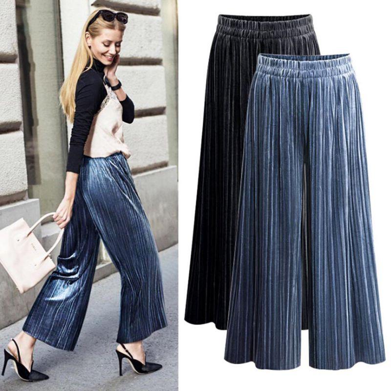 2018 Women Casual Loose High Waist   Wide     Leg   Trousers Fashion Women Gold Velvet   Wide     Leg     Pants   Female Pleated Long   Pants